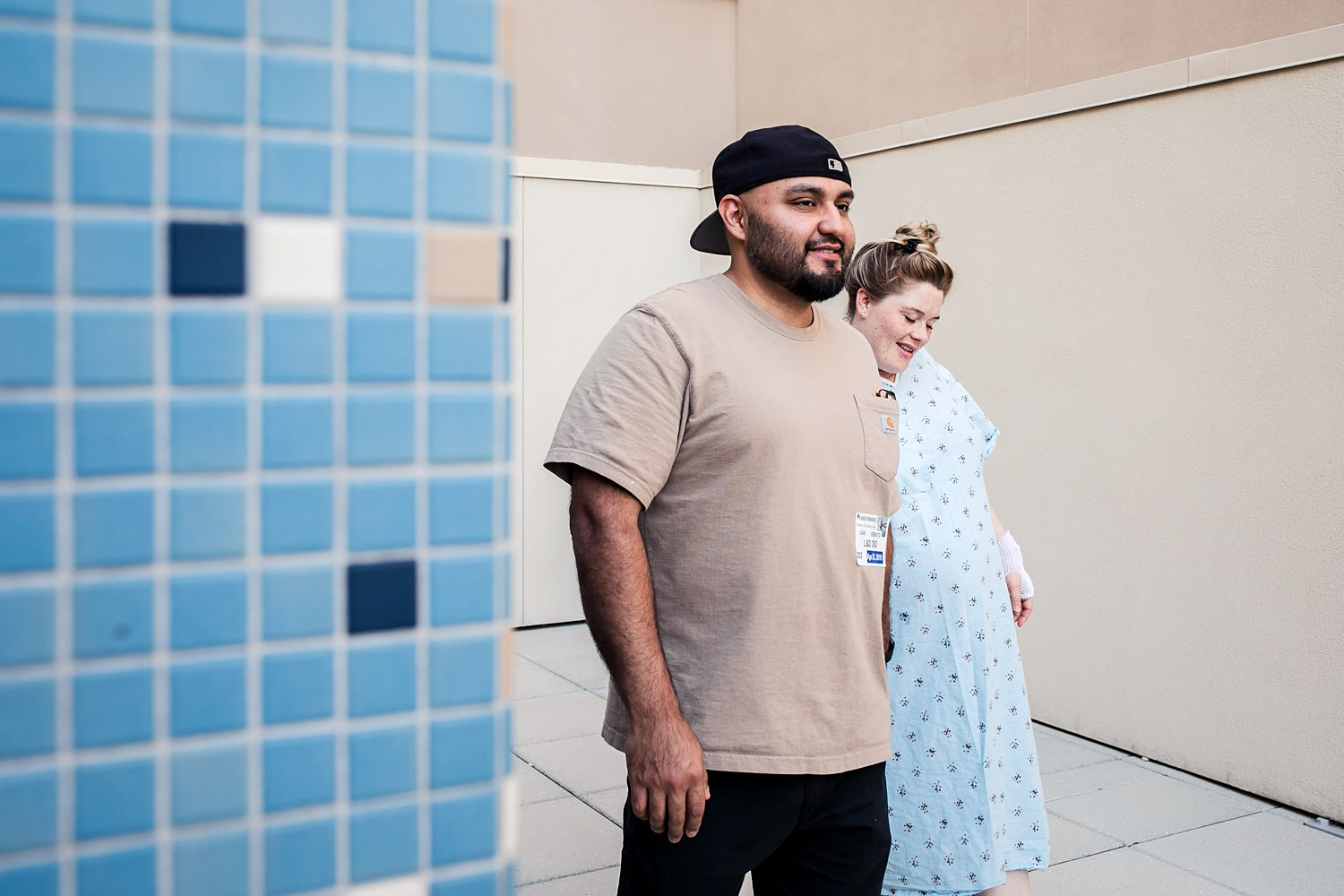 Laboring couple go for a walk during their birth at Kaiser Roseville Hospital.