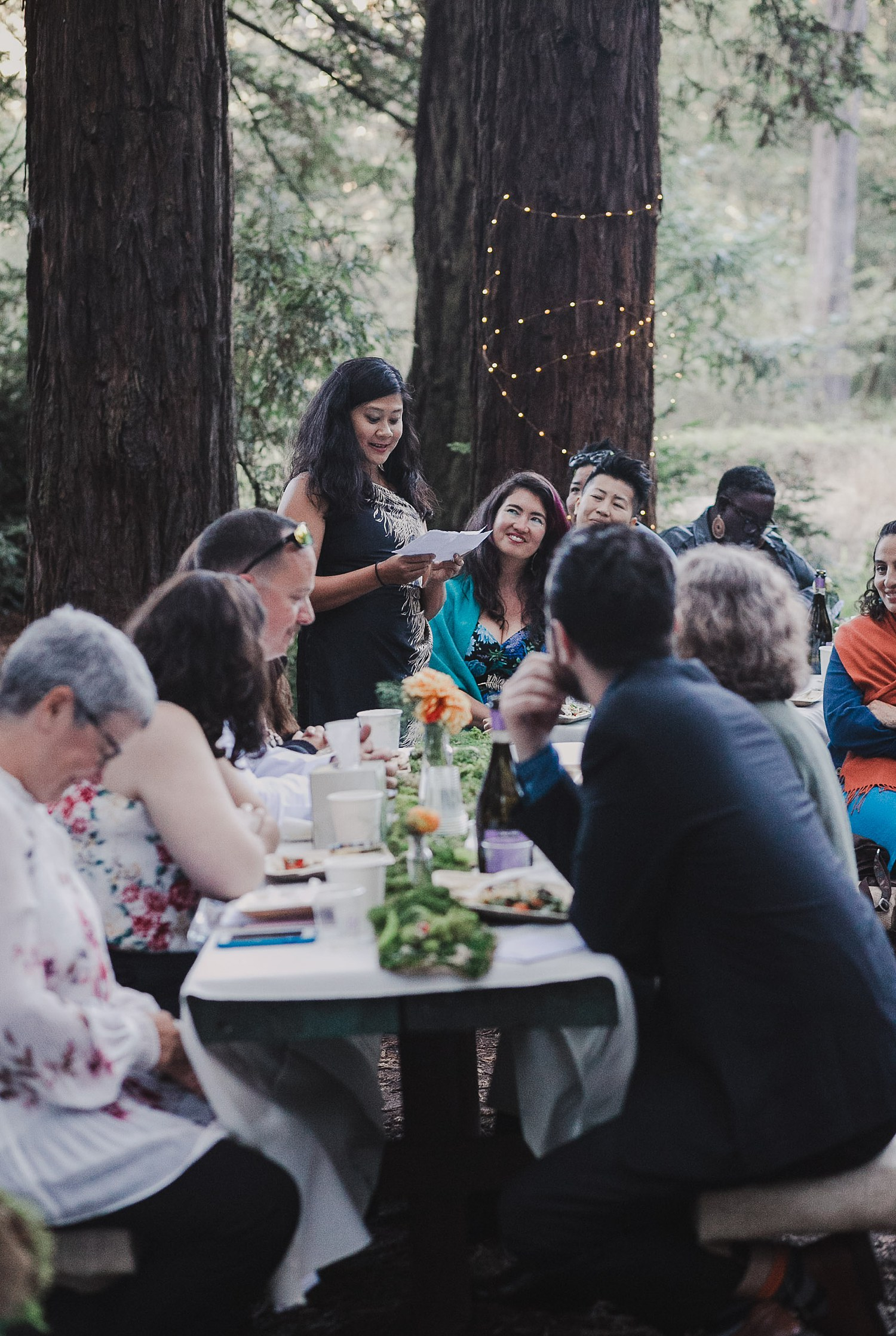 Emotional Speech at a Joaquin Miller Park wedding.