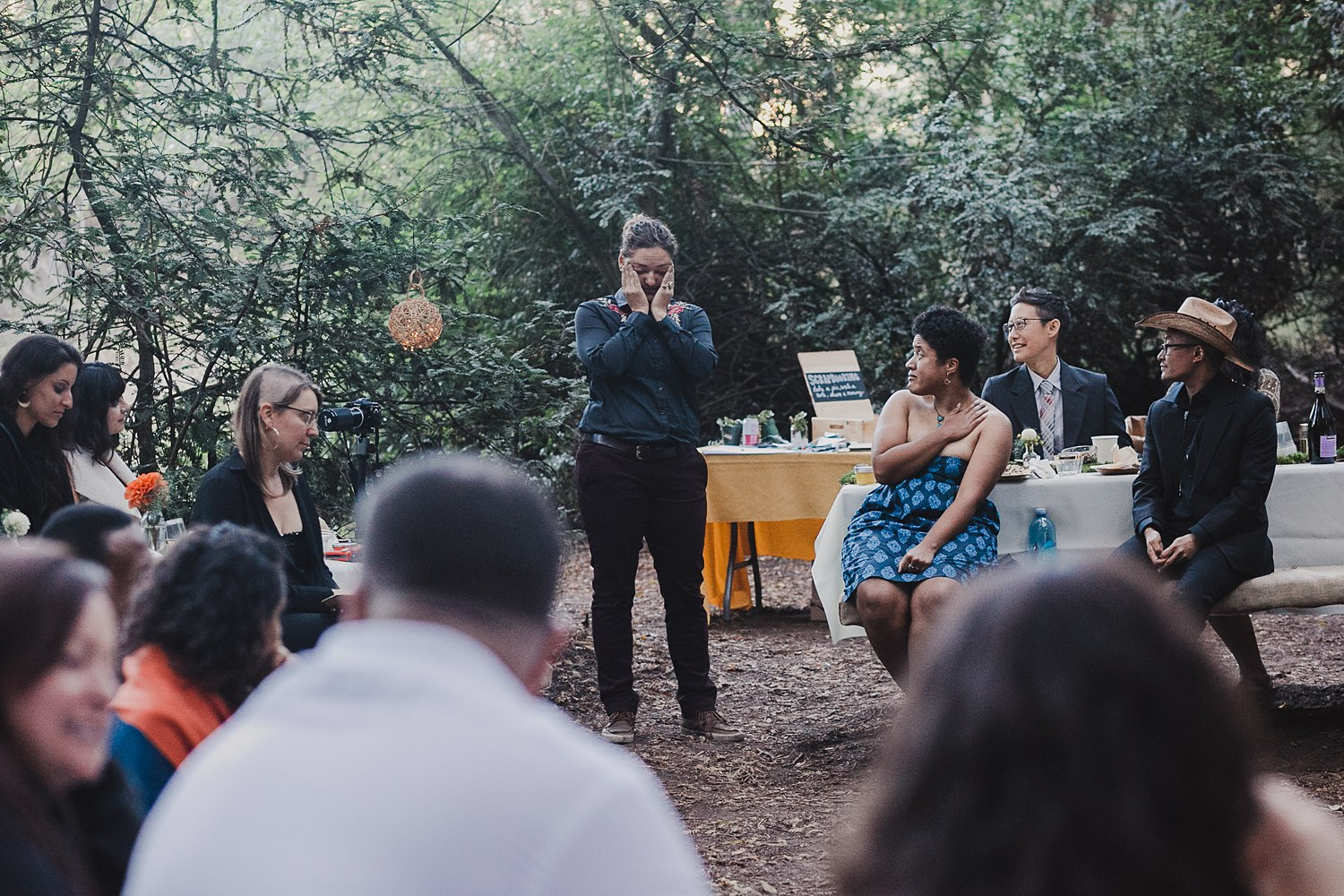 Emotional speech at an intimate wedding in Joaquin Miller Park in Oakland, CA.