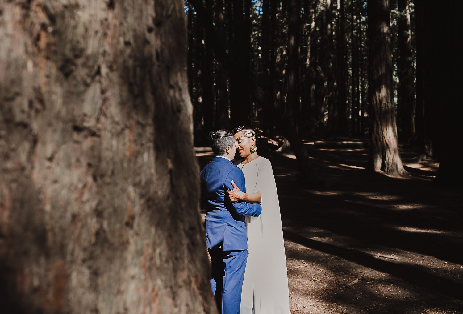 First look at an intimate Oakland wedding in Joaquin Miller Park.