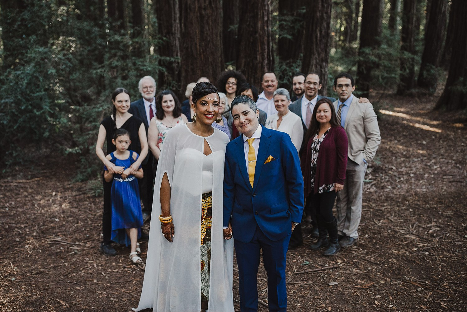 Family portraits at an intimate Oakland wedding in Joaquin Miller Park