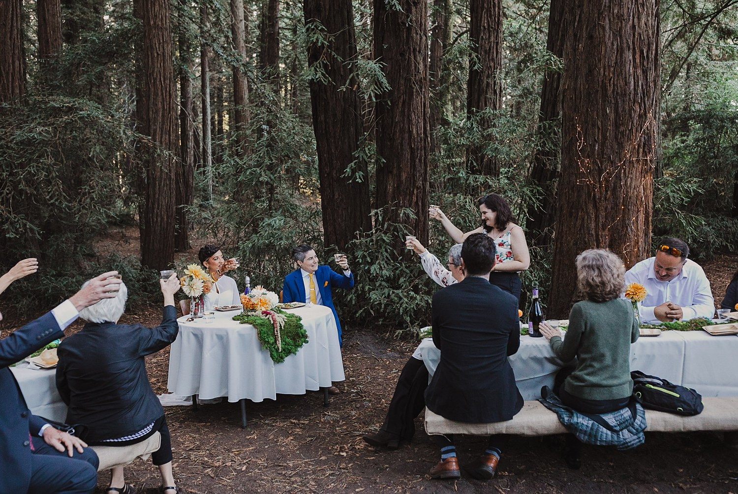Toasts at an intimate wedding in Joaquin Miller Park in the Oakland Hills