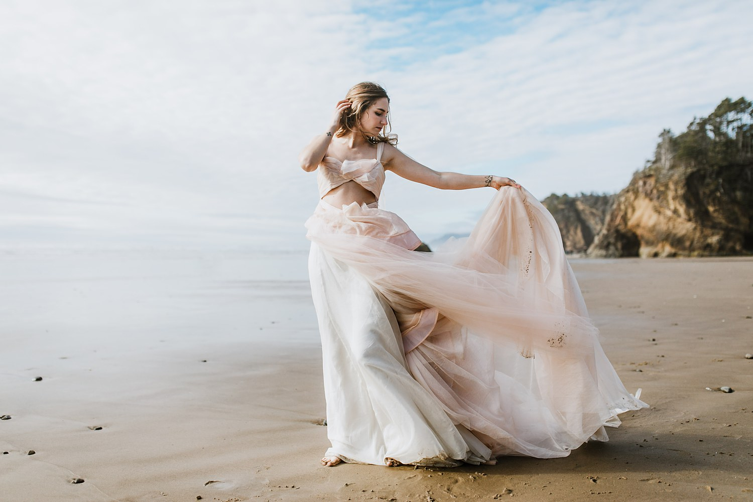 New bride wears a Claire La Faye Wedding Dress