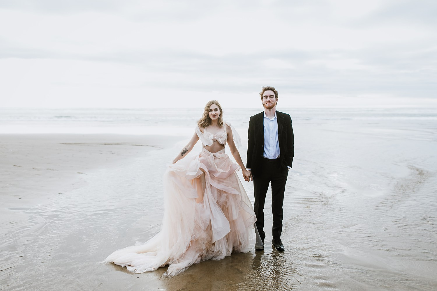 Claire La Faye Wedding dress on a beautiful beach in Oregon.